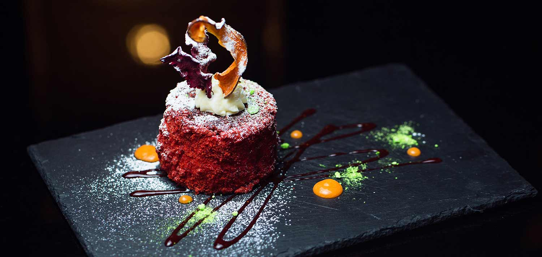 Fine dining, dessert.